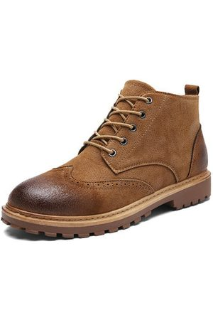 Newchic Men Brogue High Top Leather Boots