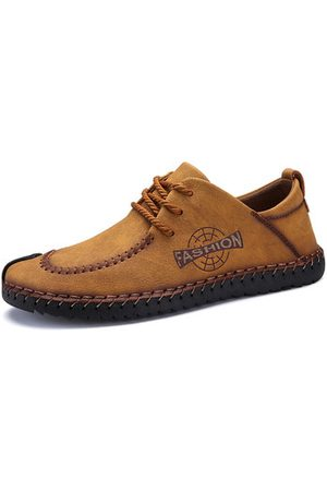 Newchic Men British Style Hand Stitching Cow Leather Casual Shoes