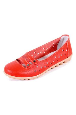 Newchic Leather Hollow Out Breathable Button Stripe Slip On Flat Casual Shoes