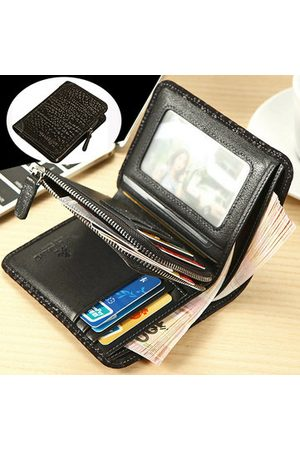 Newchic Men Bags - Genuine Leather Short Zipper Coin Bag Trifold Wallet For Men