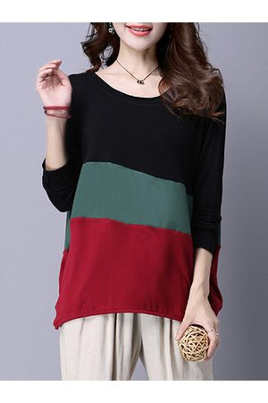Newchic Casual Splicing Long Sleeves O Neck Shirts For Women