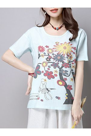 Newchic Flower Printed Short Sleeve Casual Blouse