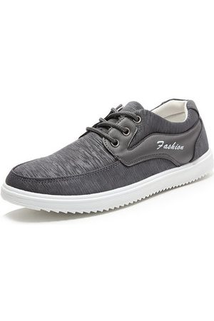 Newchic Men Fabric Splicing Breathable Flat Lace Up Sport Casual Shoes