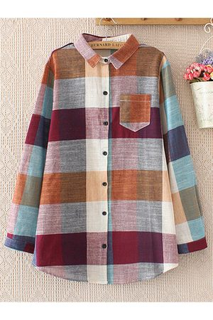 Newchic Casual Plaid Long Sleeve Lapel Shirt