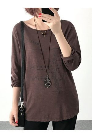 Newchic Casual Loose Letter Print Long Sleeve O-neck Women Shirts
