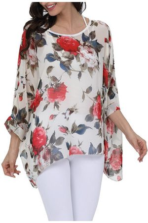 Newchic Chiffon Printed 3/4 Sleeve Cover Up Beach Blouse