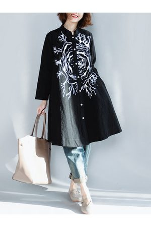 Newchic Casual Printed Long Sleeve Stand Collar Shirt