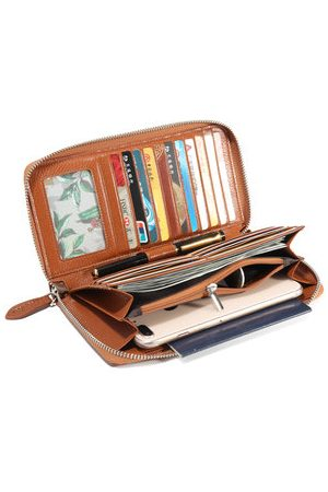 Newchic Brenice RFID Genuine Leather Wallets Vintage Card Holder