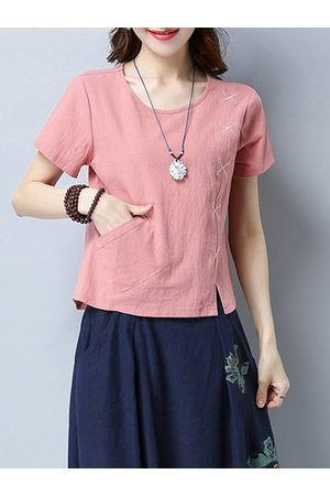 Newchic Vintage Pure Color O-neck T-shirts