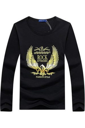 Newchic Plug Size Mens Fashion Unique Golden Pattren Printing Casual Cotton Long Sleeve T-shirts