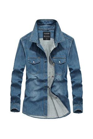 Newchic Casual Blue Denim Shirts