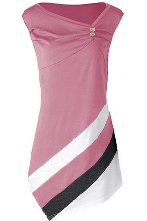 Newchic Casual Stitching Stripes Pleated Button Sleeveless Blouse