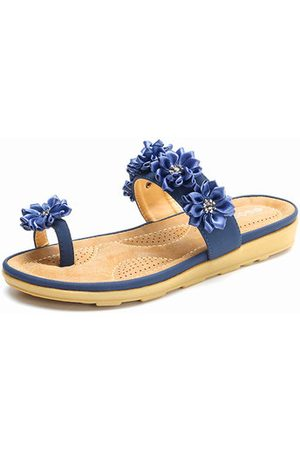 Newchic SOCOFY Floral Bohemia Clip Toe Flat Slippers For Women