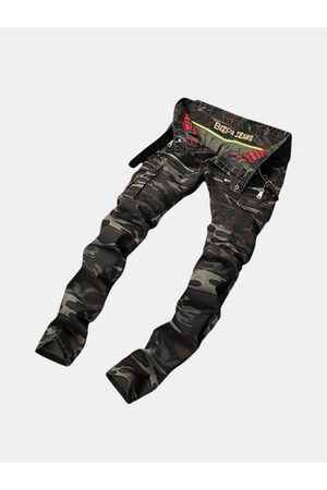 Newchic Camouflage Elastic Slim Ripped Jeans