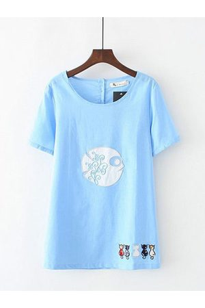 Newchic Cat Embroidery Button Short Sleeve Shirt