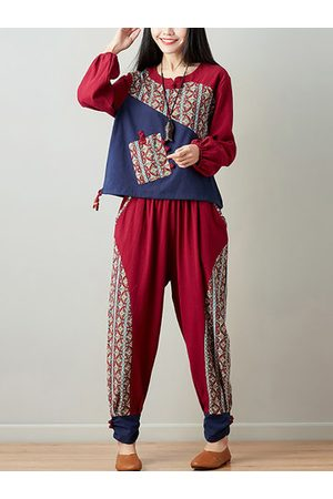 Newchic Vintage Printed Patchwork Two Pieces Suits