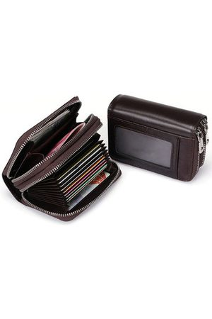 Newchic Genuine Leather Double Layers Card Holder Change Bag Wallet