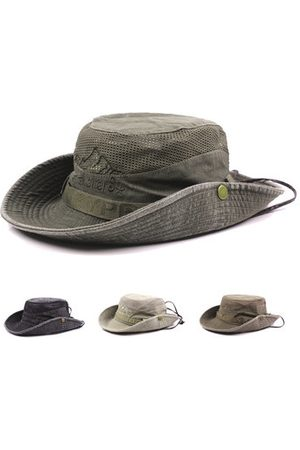 Newchic Mens Summer Cotton Embroidery Visor Bucket Hats Fisherman Hat Outdoor Climbing Mesh Sunshade Cap