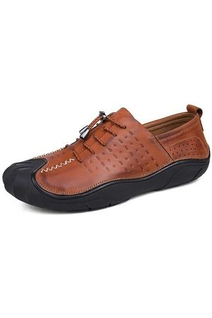 Newchic Men Vintage Genuiner Leather Anti-collision Toe Soft Lace Up Casual Shoes