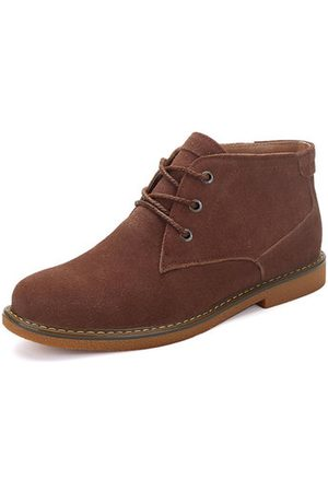Newchic Men Metal Eyelets Nubuck Ankle Boots