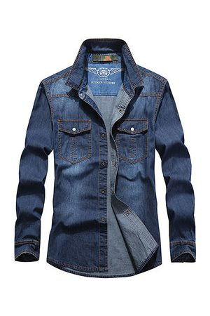 Newchic Loose Solid Color Denim Shirts
