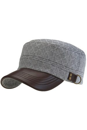 Newchic Mens Cotton Jacquard Breathable Pu Brim Flat Top Hats Casual Outdoor Visor Baseball Cap Adjustable
