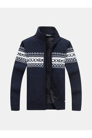 Newchic Mens Jacquard Zipper Thicken Knitting Casual Sweaters