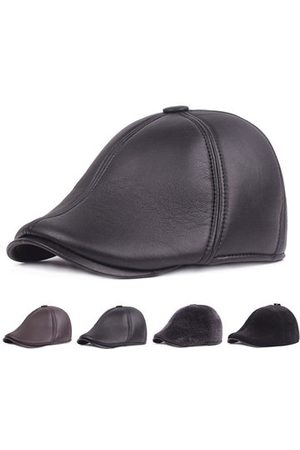 Newchic PU Leather Fur Earmuffs Retro Beret Cap