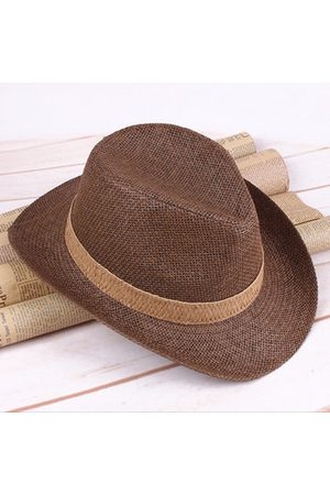 Newchic Mens Summer Breathable Straw Fedoras Jazz Caps Casual Sunscreen Beach Hat Cowboy Hat