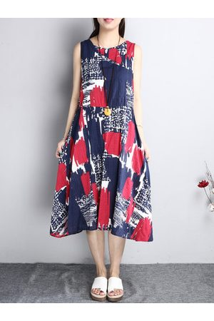 Newchic Printed Patchwork Sleeveless Casual Dresses