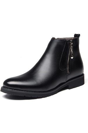 Newchic Men Leather Pointed Toe Side Zipper Casual Boots