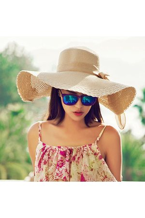 Newchic Women Wide Large Brim Summer Hat Beach Sun Floppy Straw Derby Fold Cap
