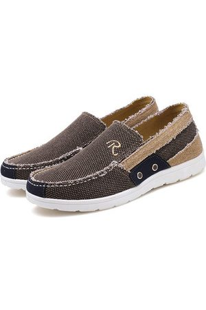 Newchic Men Canvas Letter Slip On Soft Sole Casual Shoes