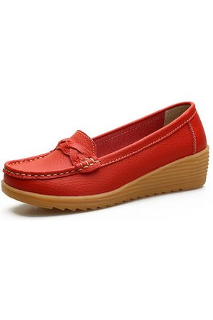 Newchic Leather Soft Casual Flat Shoes
