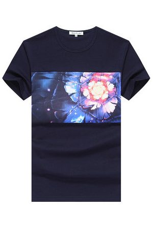 Newchic Mens Summer Colorful Flower Printing Round Neck Short sleeved Cotton T-shirts