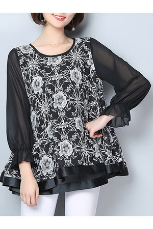 Newchic Stitching Sleeves Printed Chiffon Shirts