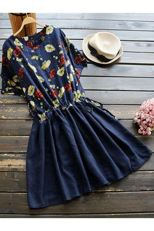 Newchic Vintage Floral Printed Patchwork Dresses
