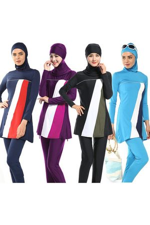 Newchic Conservative Hooded Long Sleeve Patchwork Tankini