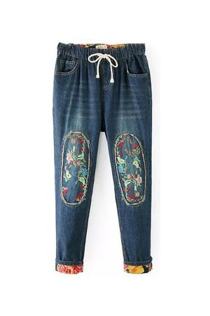 Newchic Casual Embroidery Elastic Waist Women Simier Jeans