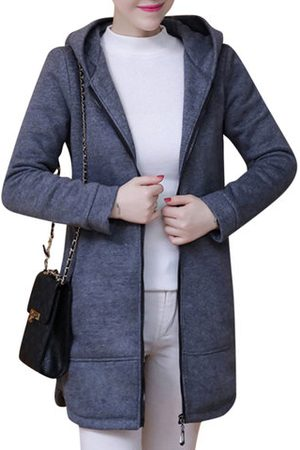 Newchic Solid Zipper Hooded Thick Casual Coat