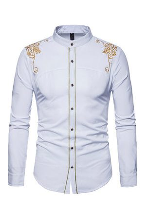 Newchic Embroidery Long Sleeve Slim Fit Shirts