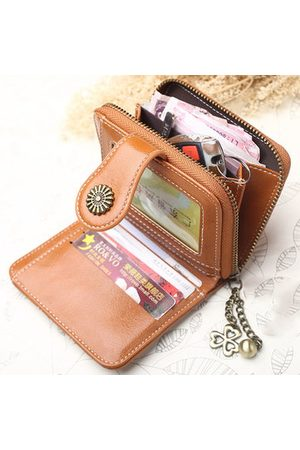 Newchic Women Oil-Wax PU Leather Short Small Wallet