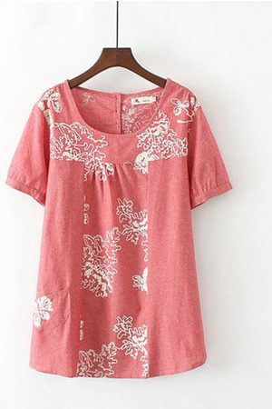 Newchic Women Short sleeves - Embroidery Pure Color Button Short Sleeve Blouse