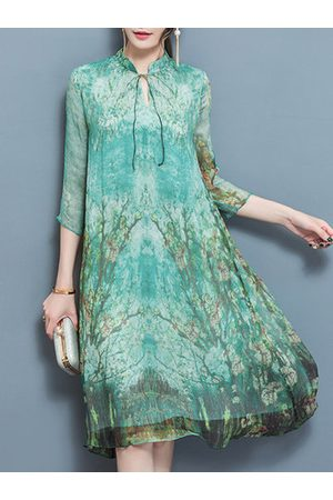 Newchic Vintage Printed Layers Long Sleeve A-line Dresses