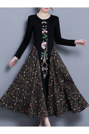 Newchic Women Printed Dresses - Embroidery Floral Patchwork Dresses