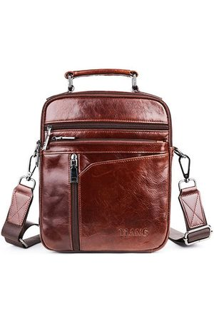 Newchic Men Laptop Bags - Vintage Genuine Leather Business Handbag Crossbody Bag