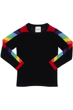 MADELEINE THOMPSON Cashmere Knit Sweater W/ Rainbow Bands