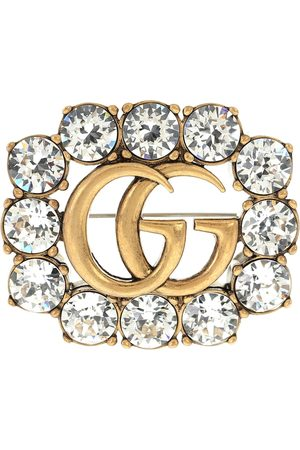 Gucci Double G crystal-embellished brooch