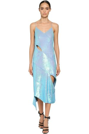 OFF-WHITE Sequined Cut Out Midi Dress