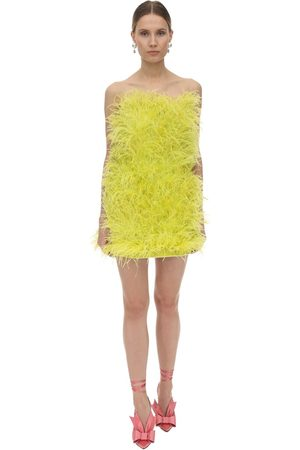 The Attico Women Strapless Dresses - Strapless Feather Embellished Mini Dress